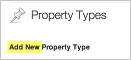 The Add New Property Type label