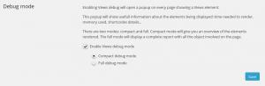 Views settings - Debug mode