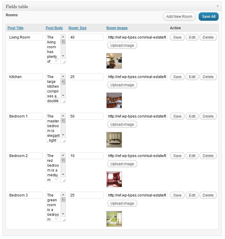 a fields table with 5 rows of content - each content entry is a single room post type
