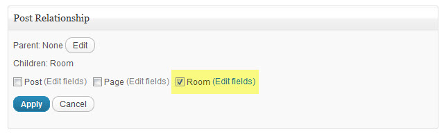 the post relationship options with the Edit fields link highlighted beside the rooms checkbox