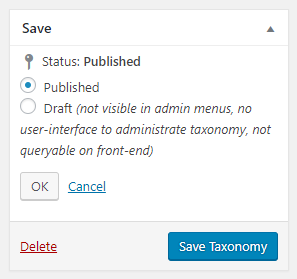 Editing the taxonomy publish status