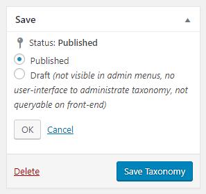 Editing the taxonomy publish status