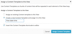 Add content template dialog