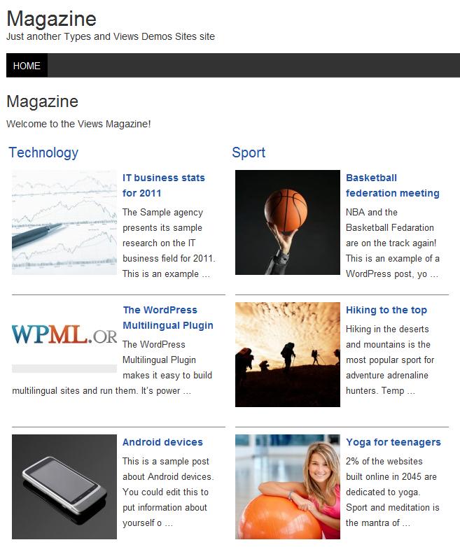 Sample magazine site
