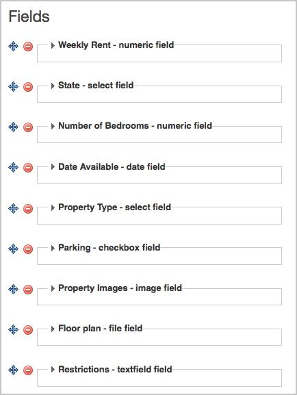 campos personalizados creados, apareciendo como una lista