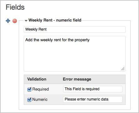 cargue la información de campo para el alquiler semanal