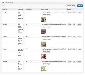 una tabla de campos con 5 filas de contenido: cada ítem de contenido es un tipo de entrada de habitación individual