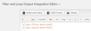 Filter and Loop Output Integration Editor