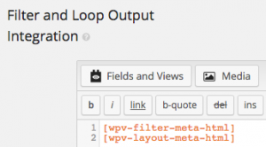 Filter and Loop Output Integration section