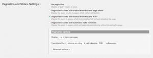 Pagination and Sliders Settings