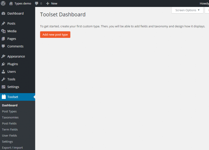 Toolset Dashboard, right after installing Types