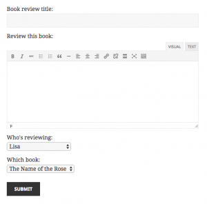 Book review form with parent selectors.