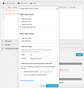 Inserting a link in the template for parent content that accesses the form.