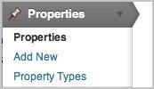 tipo de entrada property en menú admin de WordPress