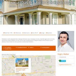 Una plantilla de contenido que muestra una sola casa con sus campos personalizados