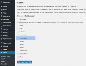 Importing post content with the WordPress Export tool.