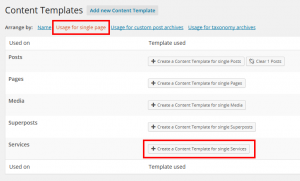 Selecting a Content Template - Usage for Single Page