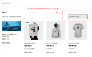 Default WooCommerce sorting controls