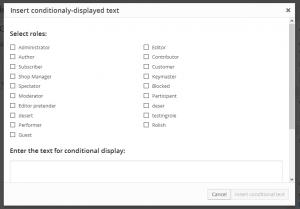 Conditional shortcode dialog