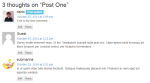 Comments cell on the front-end after applying some custom CSS styling