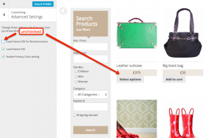 """Load theme CSS for WooCommerce"" option unchecked"