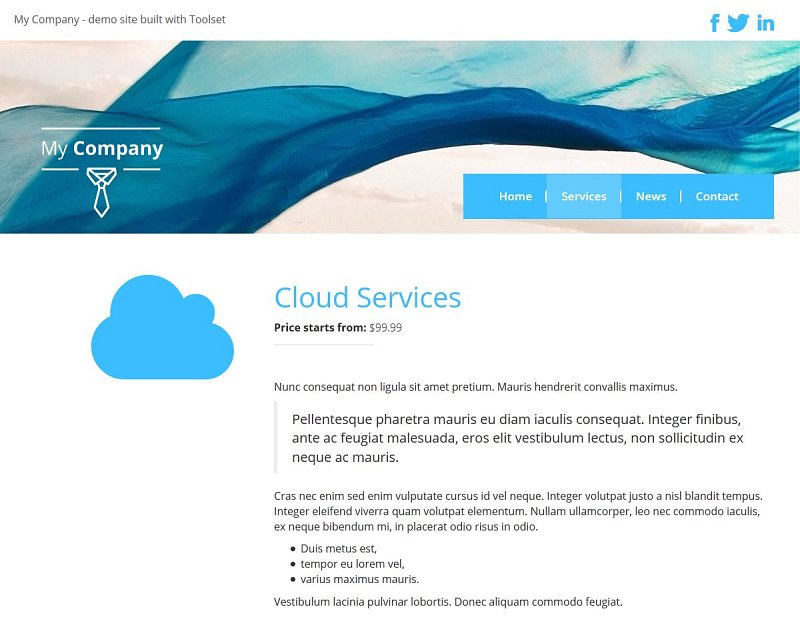 1. Single service page