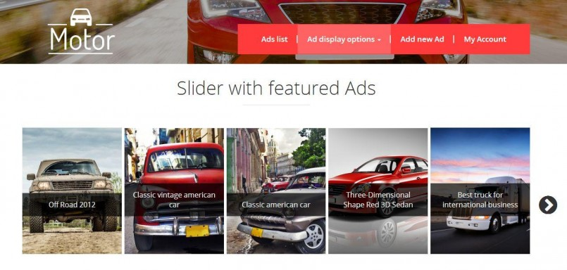 slider with featured ads