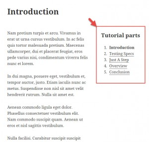 Example of a tutorial post, showing brother posts on the sidebar