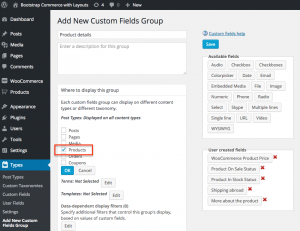 Adding new custom fields groups. A custom fields group is a container for custom fields added for WooCommerce products.