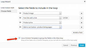 Select fields to include in the loop