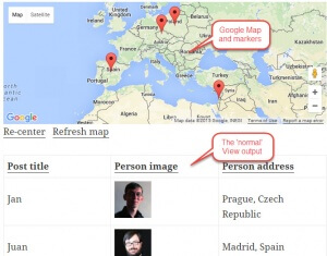 A View producing a Google Map with markers and the normal output
