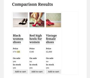 Comparison Results page: Final version