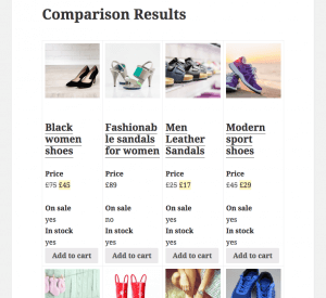 Comparison Results page after completing the steps presented so far