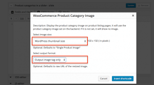 Setting up options for product category images