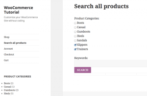 Page with the Search View – front-end