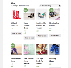 <strong>Before</strong> – WooCommerce Shop page displayed by the WooCommerce default template and the Twenty Fifteen theme.