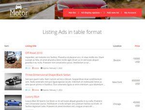 Una view en la página de inicio que muestra 'automóviles' en una tabla.