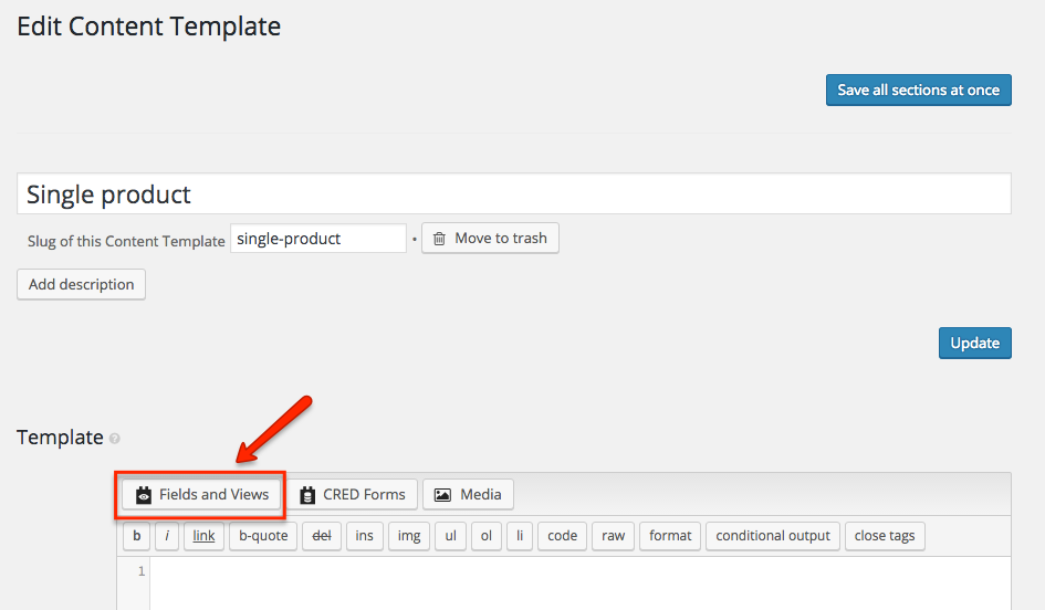Edit Content Template screen of the Views plugin