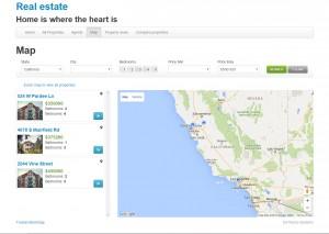 Resultados de búsqueda en mapa