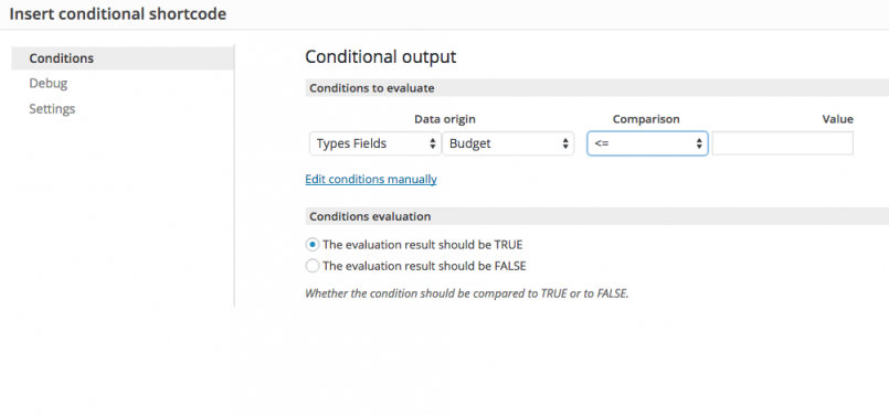 Setting up conditions with the GUI