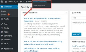 Toolset shortcodes menu in the WordPress toolbar