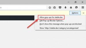Firefox enable popups