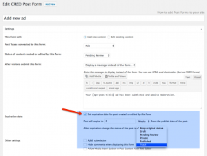 You set the automatic expiration of posts on the CRED post form level