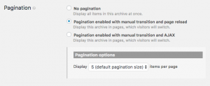 Default pagination settings for a newly created WordPress Archive