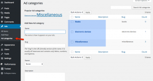 Anzeigen-Kategorien - WordPress-Backend
