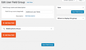 Additional User Fields are added on the Toolset Types plugin level