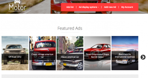 Page displaying random featured ads in a slider
