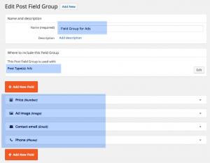 Hinzufügen von Gruppen benutzerdefinierter Felder
