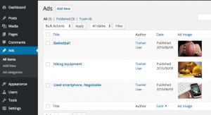 Exemple d'annonces : WordPress en arrière-plan
