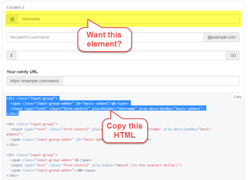 Bootstrap element and the HTML code that produces it